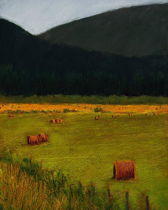 Landscape Poster featuring the painting Priest Lake Hay Bales by David Patterson