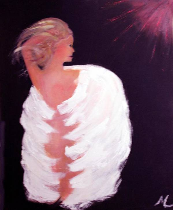 Angel Religious Devotional Cosmic New Age Poster featuring the painting Primal by Michela Akers
