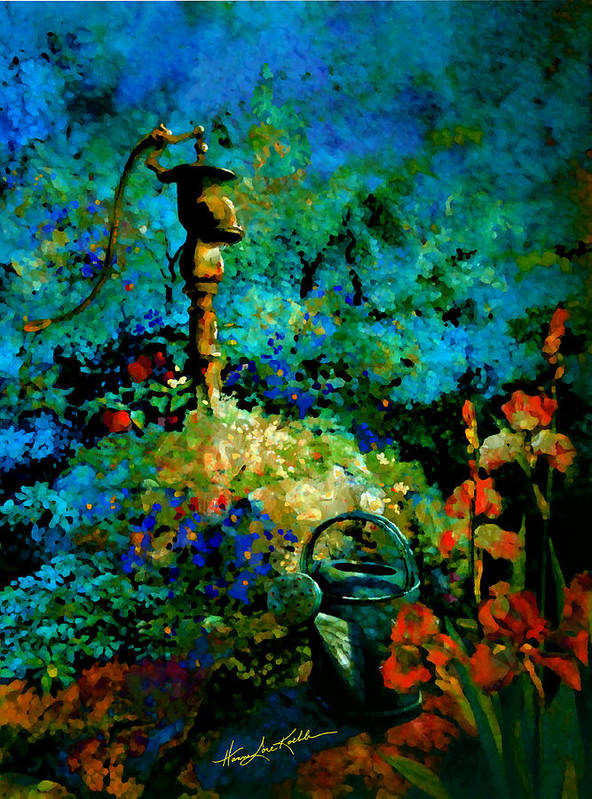 Water Pump Poster featuring the painting Primed For Service by Hanne Lore Koehler