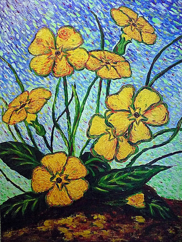 Flowers Poster featuring the painting Primula Veris by Ericka Herazo