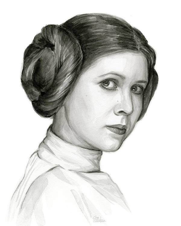 Leia Poster featuring the painting Princess Leia Watercolor Portrait by Olga Shvartsur