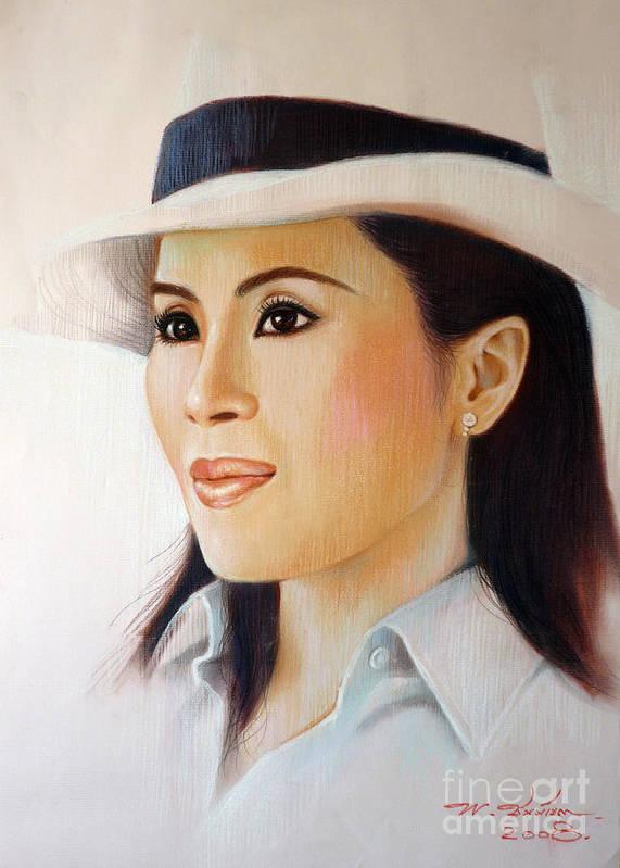Thai Poster featuring the painting Princess Ubonrat Rachakanya by Chonkhet Phanwichien