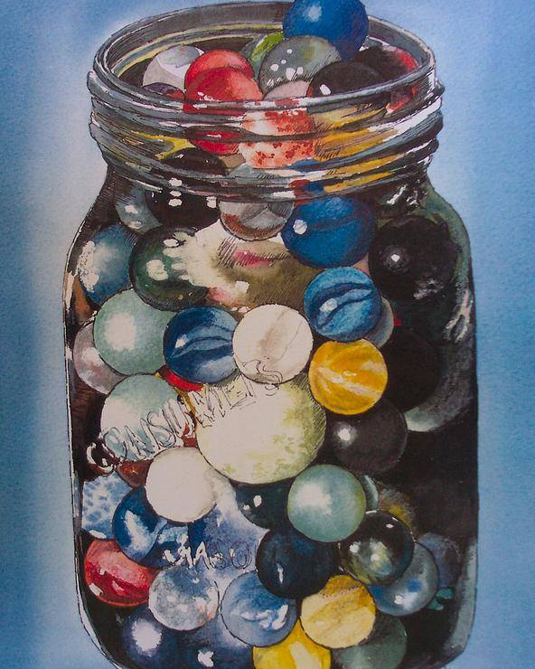 Marbles Poster featuring the painting Prized Collection by Victoria Heryet