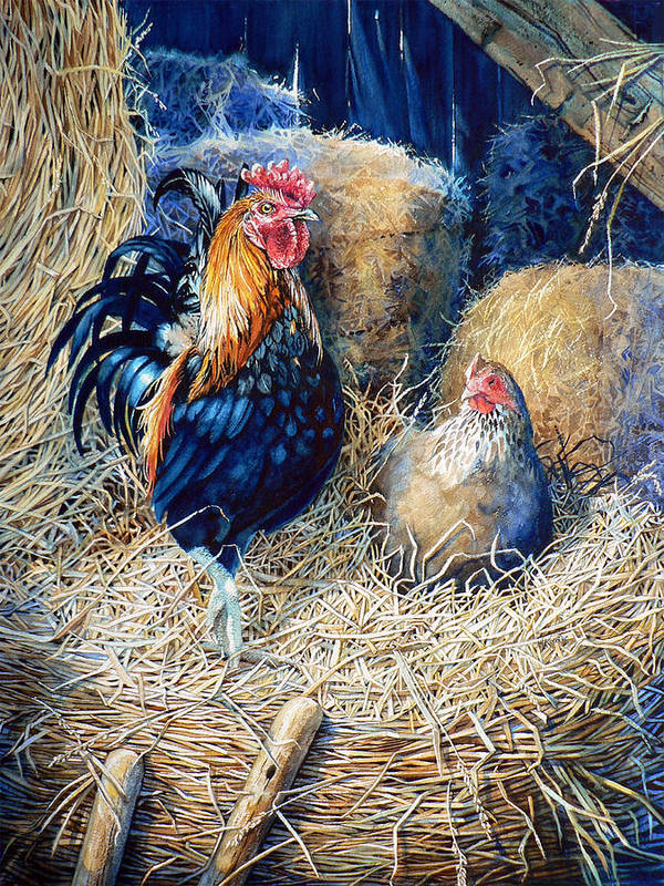 Painting Of Rooster Poster featuring the painting Prized Rooster by Hanne Lore Koehler