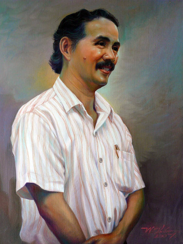 Portrait Poster featuring the painting Prof.panya Petchoo by Chonkhet Phanwichien