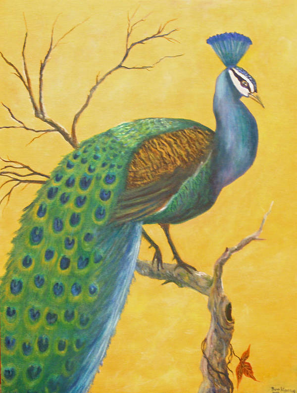 Peacock; Birds; Fall Leaves Poster featuring the painting Proud As A Peacock by Ben Kiger