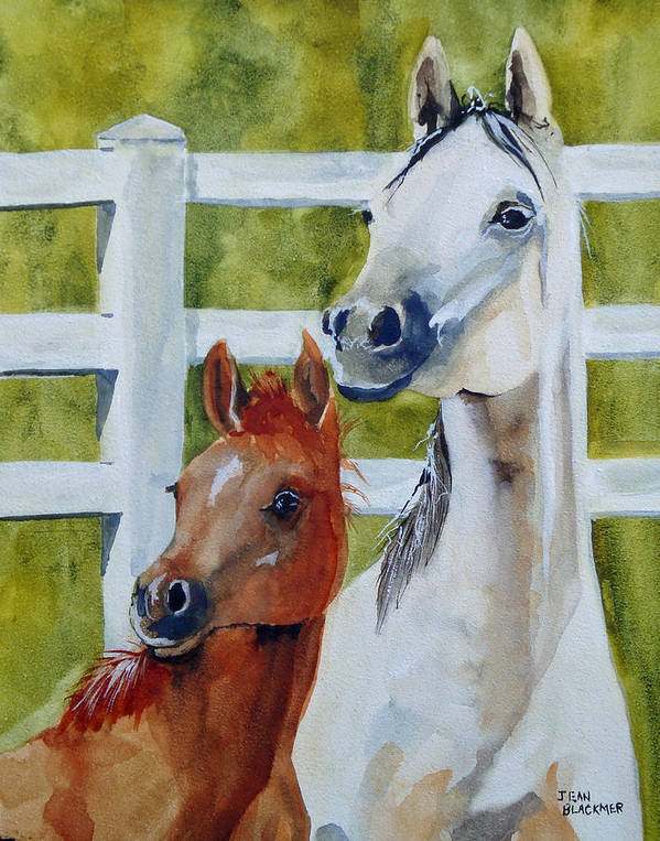 Equine Poster featuring the painting Proud Mama by Jean Blackmer