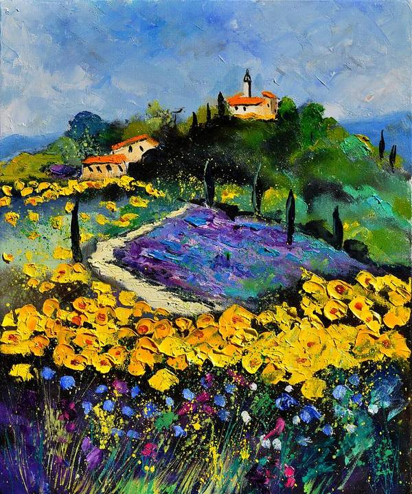 Landscape Poster featuring the painting Provence 561140 by Pol Ledent