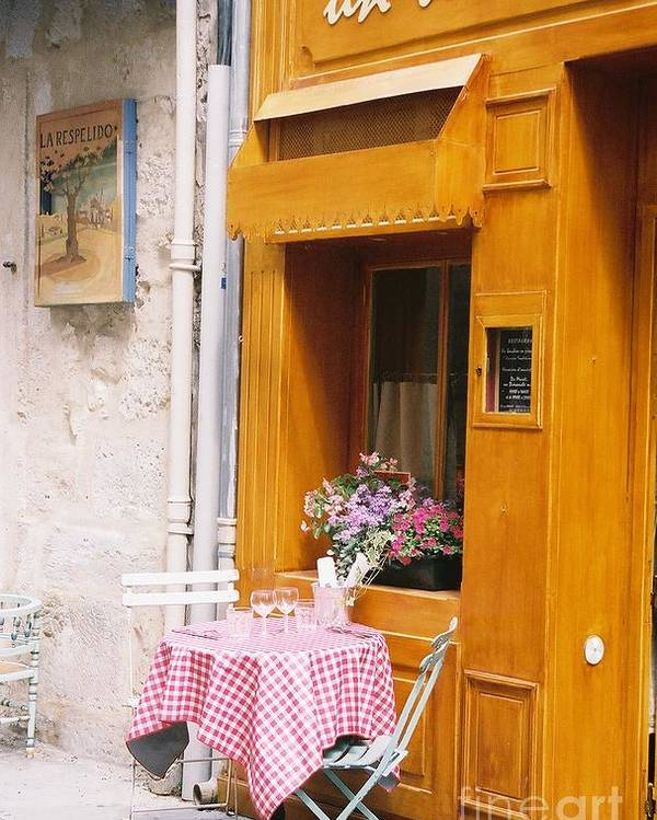 Cafe Poster featuring the photograph Provence Cafe by Nadine Rippelmeyer