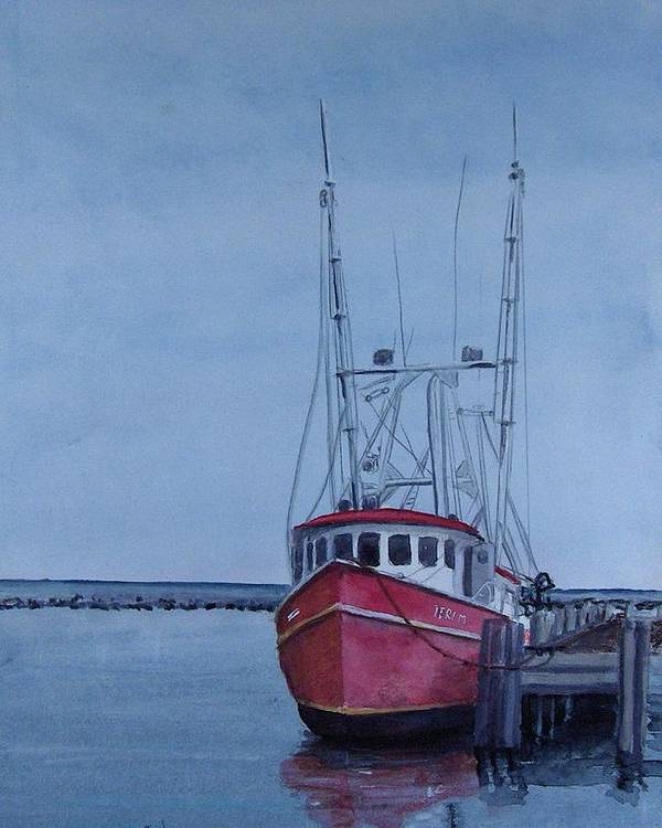 Fishing Trawler Poster featuring the painting Provincetown Portuguese by Haldy Gifford