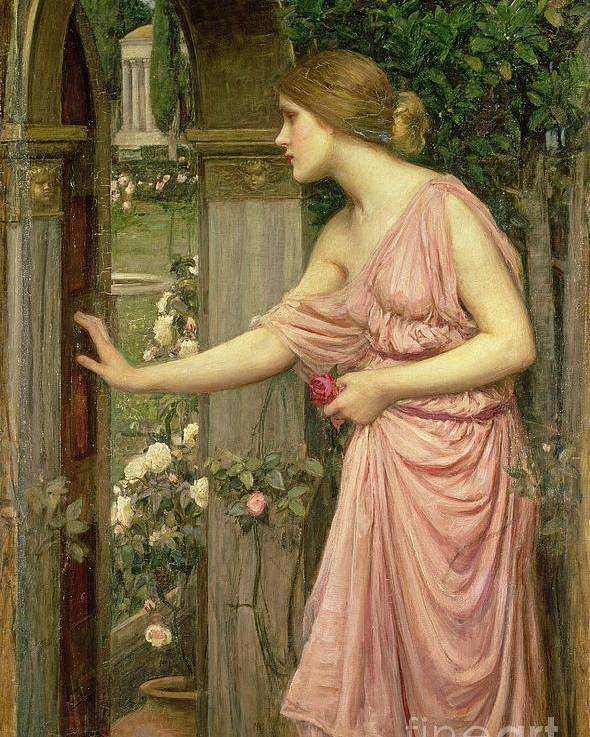 John William Waterhouse Poster featuring the painting Psyche Entering Cupid's Garden by John William Waterhouse
