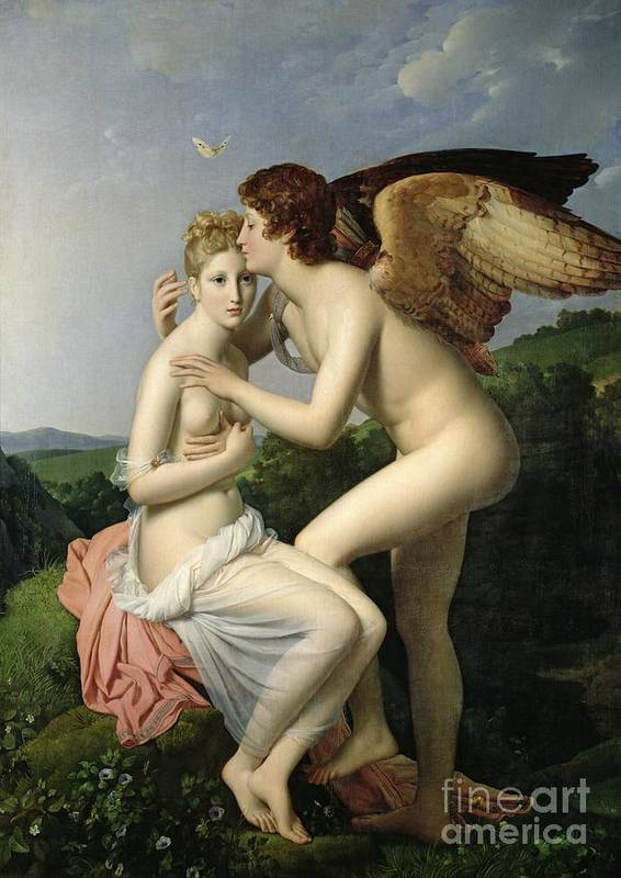 Psyche Poster featuring the painting Psyche Receiving The First Kiss Of Cupid by Gerard