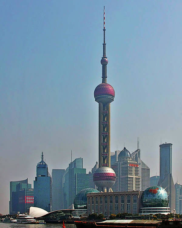 China Poster featuring the photograph Pudong Shanghai Oriental Perl Tower by Christine Till