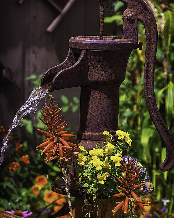 Vertical Poster featuring the photograph Pumping Water by Garry Gay