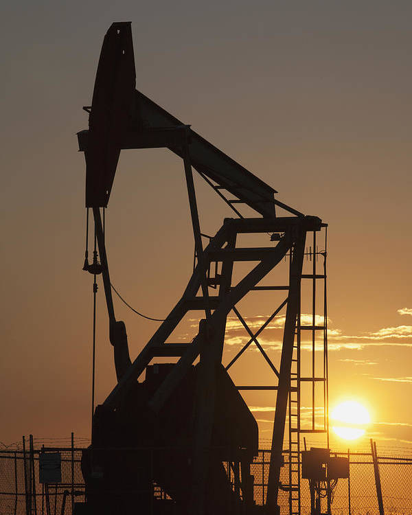 Canada Poster featuring the photograph Pumpjack Silhouette by Michael Interisano