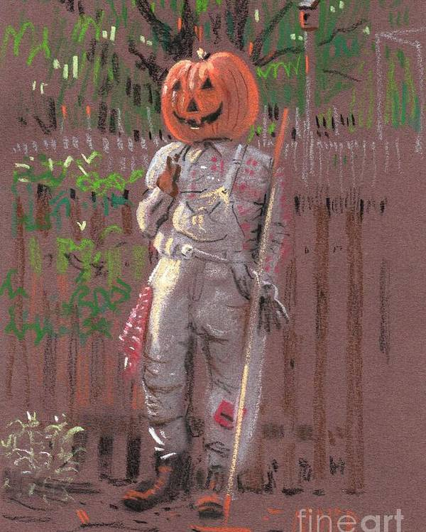 Scarecrow Poster featuring the drawing Pumpkin Scarecrow by Donald Maier