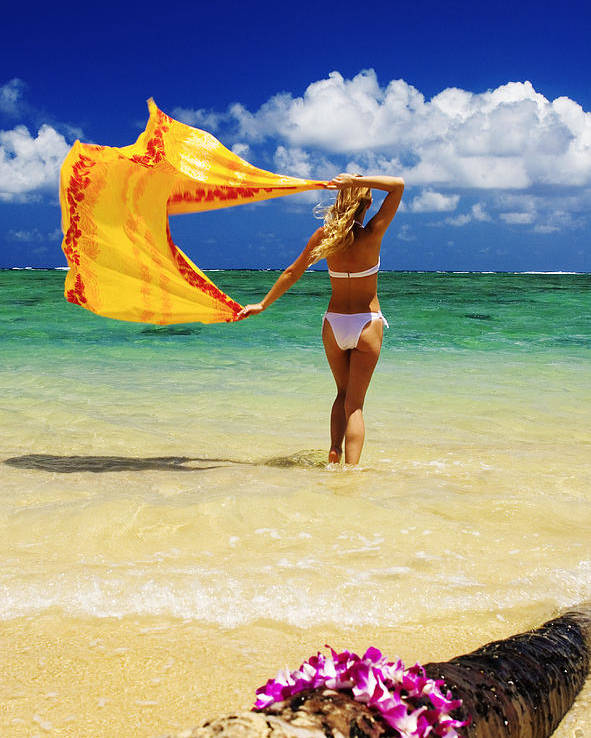 Beach Poster featuring the photograph Punaluu Beach Vacation by Tomas del Amo - Printscapes