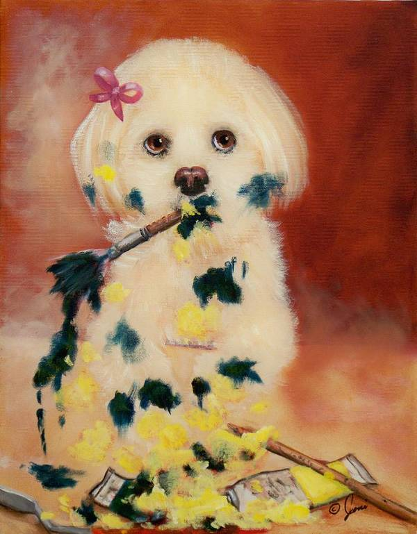Portrait Poster featuring the painting Pupcasso by Joni McPherson