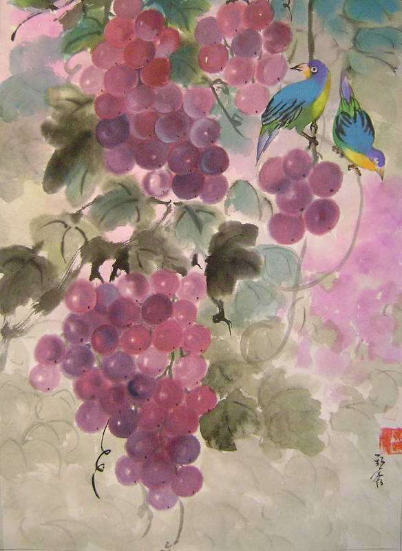 Conceptual Poster featuring the painting Purple Grapes And Blue Birds by Lian Zhen