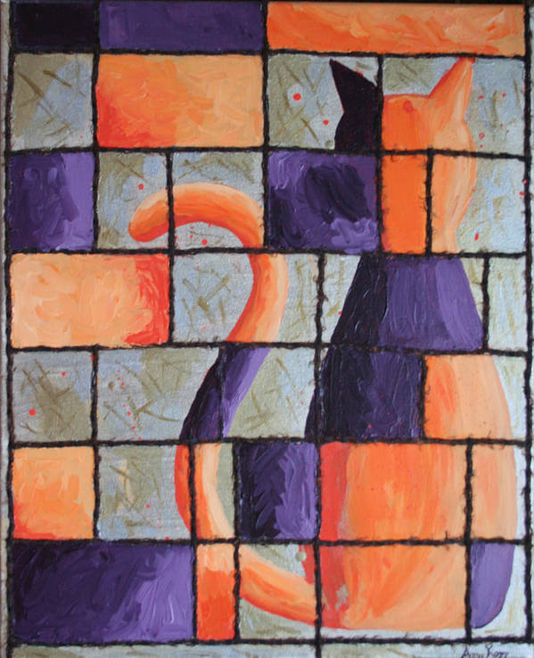 Cat Poster featuring the painting Purple Kitty by Amy Parker