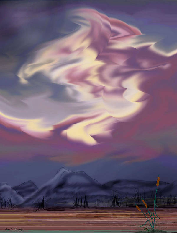 Clouds Poster featuring the painting Purple Mountain Majesty by Anne Norskog