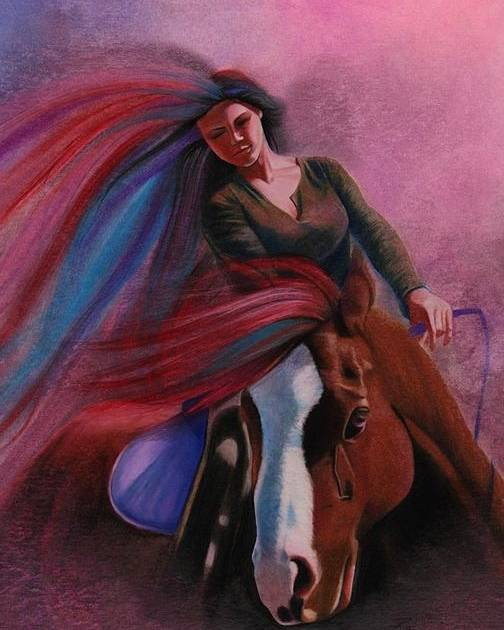 Horseback Rider Image Poster featuring the painting Purple Ride by Maria Hathaway Spencer