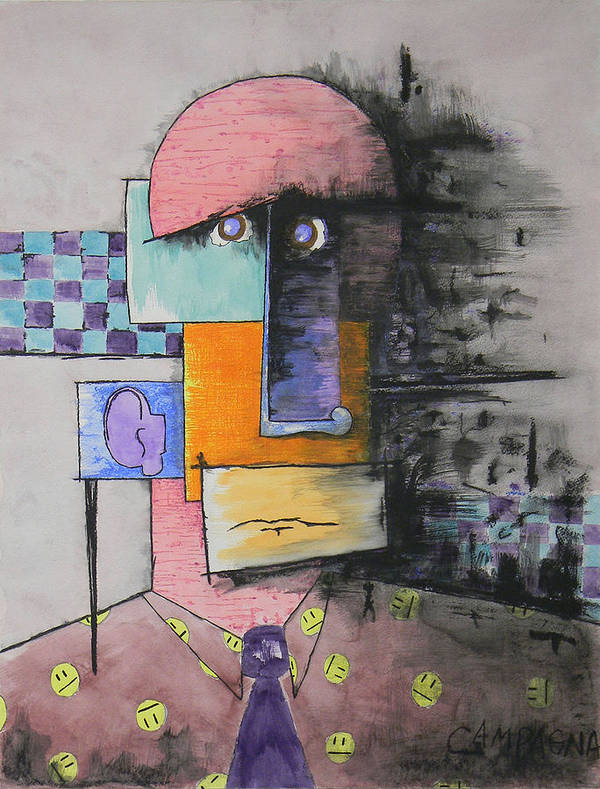 Watercolor Paint Poster featuring the mixed media Purple Tie by Teddy Campagna