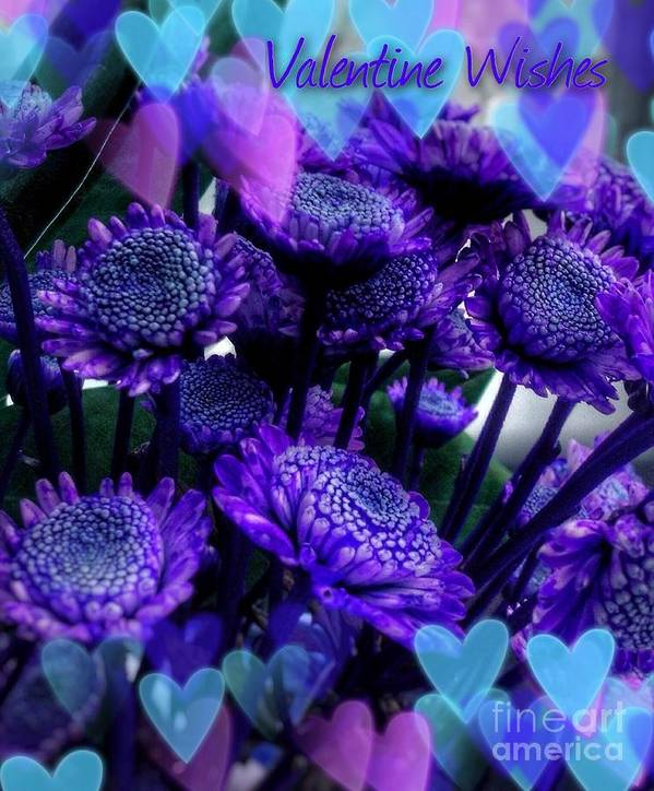 Purple Valentine Poster featuring the mixed media Purple Valentine by Joan-Violet Stretch