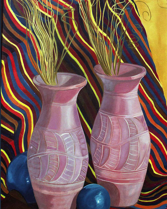 Still Life Poster featuring the painting Purple Vases by Antoaneta Melnikova- Hillman