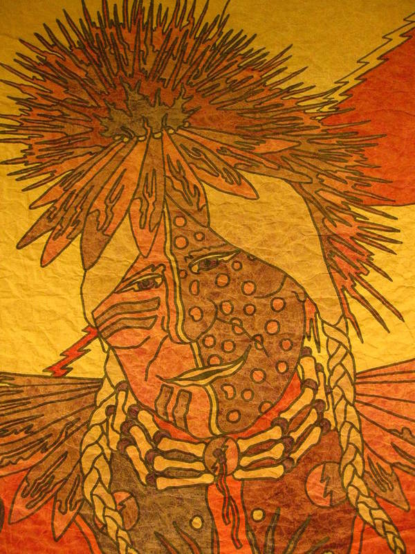 Native Poster featuring the tapestry - textile Purple Warrior by Austen Brauker