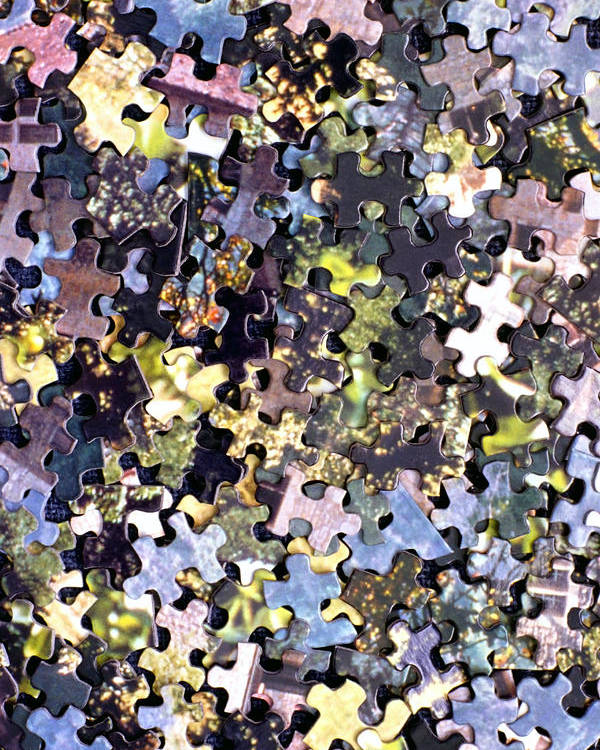 Puzzle Poster featuring the photograph Puzzle Piece Abstract by Steve Ohlsen