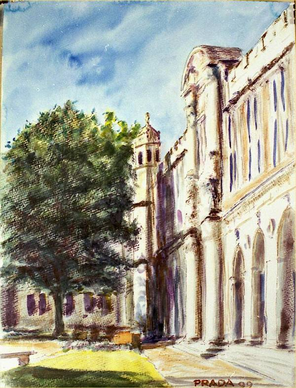Watercolor Poster featuring the painting Quad South Facade by Horacio Prada