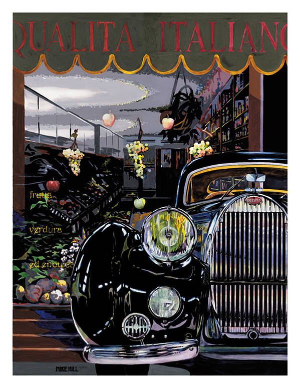 1939 Bugatti 57c Concours Italy Italian Wine Fruit Vegetable Deli Rome Naples Venice Classic Car Poster featuring the painting Qualita Italiano by Mike Hill