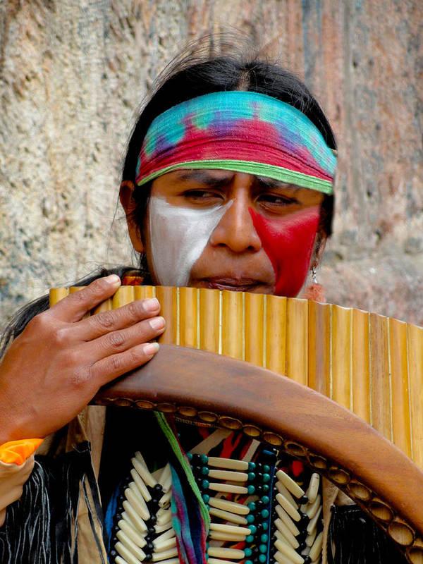Al Bourassa Poster featuring the photograph Quechuan Pan Flute Player by Al Bourassa