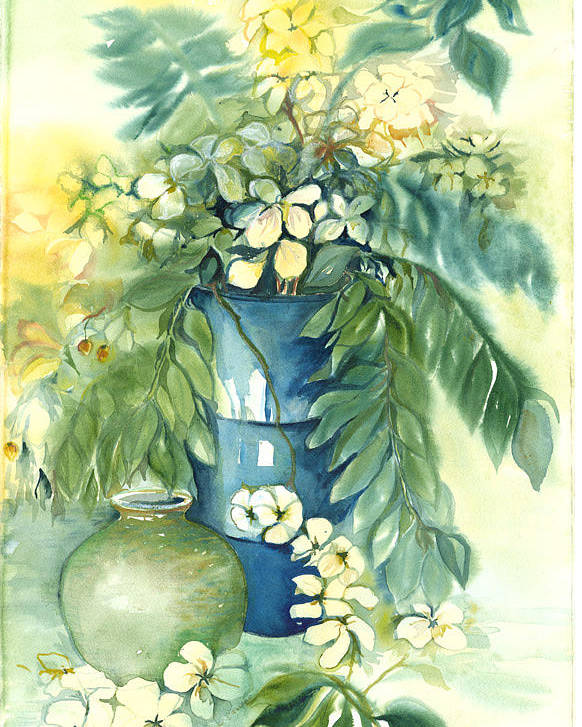 Very Loose Still Life Of Vase And Flowers Poster featuring the painting Queen Emma In Blue Vase by Ileana Carreno