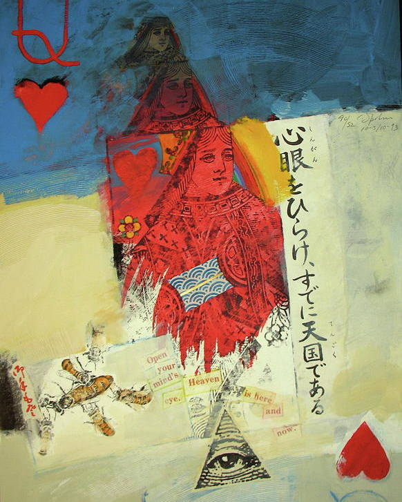 Acrylic Poster featuring the mixed media Queen Of Hearts 40-52 by Cliff Spohn