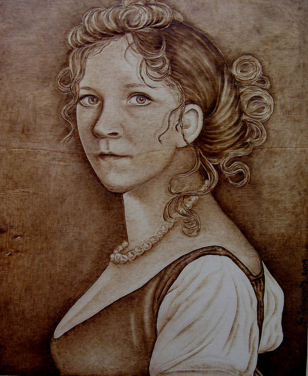 Pyrography Poster featuring the pyrography Queen Of Prussia by Jo Schwartz
