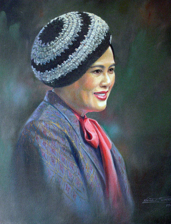 Portrait Poster featuring the painting Queen Sirikit by Chonkhet Phanwichien
