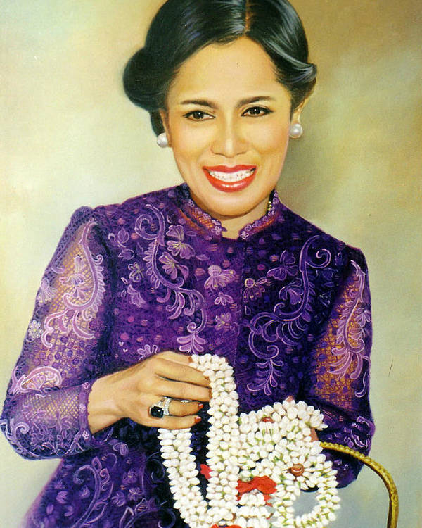 Oil Poster featuring the painting Queen Sirikit2 by Chonkhet Phanwichien