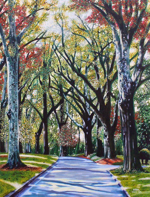 Trees Poster featuring the painting Queens Road West by Jerry Kirk