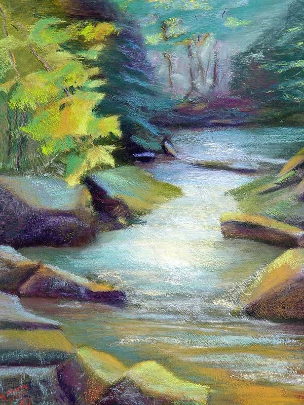 Waterscape  Quiet Summer Stream In The Mountains. Poster featuring the painting Quiet Stream by Melanie Miller Longshore
