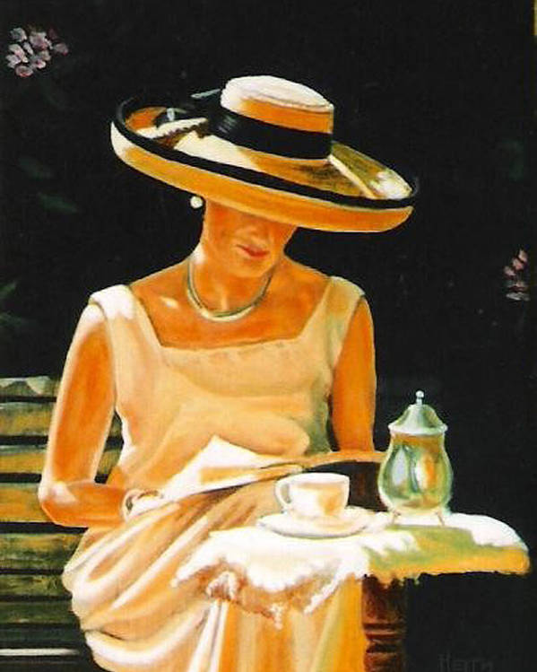 Tea Cup Poster featuring the painting Quiet time by Keith Gantos