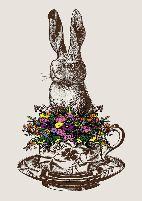 Rabbits Poster featuring the digital art Rabbit In A Teacup by Eclectic at HeART