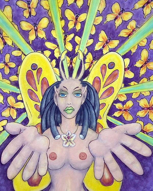 Nude Poster featuring the painting Radiant Butterflies by Eddie Sargent