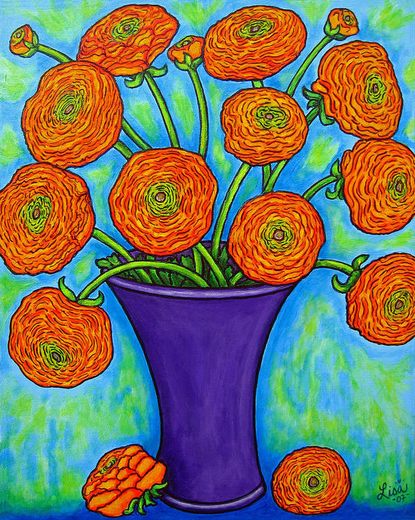 Green Poster featuring the painting Radiant Ranunculus by Lisa Lorenz