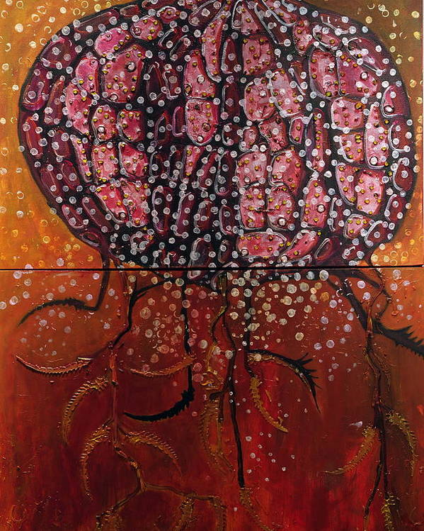 Organic Poster featuring the painting Radiolaria by Angela Dickerson