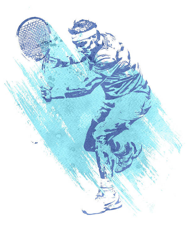 Rafael Nadal Tennis Water Color Art 1 Poster By Joe Hamilton