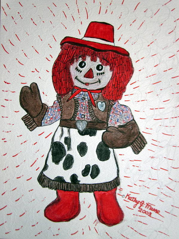 Raggedy Ann Poster featuring the painting Raggedy Ann Cowgirl by Kathy Marrs Chandler