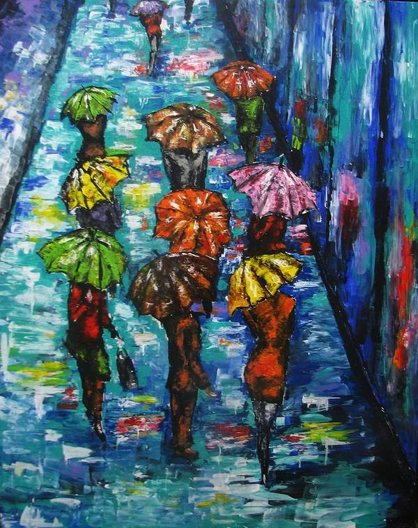 Rain Poster featuring the painting Rain Fantasy Acrylic Painting by Natalja Picugina