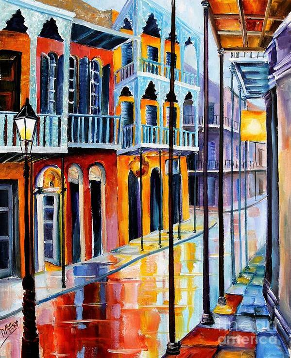 New Orleans Poster featuring the painting Rain On Royal Street by Diane Millsap